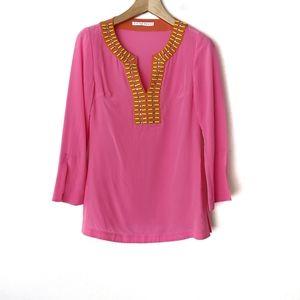 Trina Turk Embellished Silk Tunic Blouse